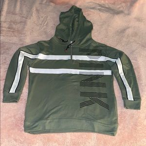 PINK Olive Green White and Black Striped Hoodie